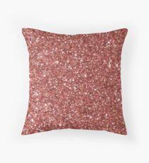 Rose Gold Glitter Throw Pillow