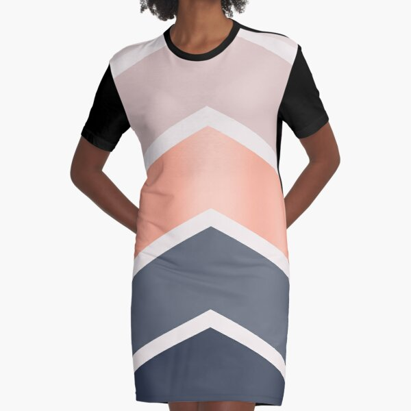 Chevrons in blush, navy and copper Graphic T-Shirt Dress