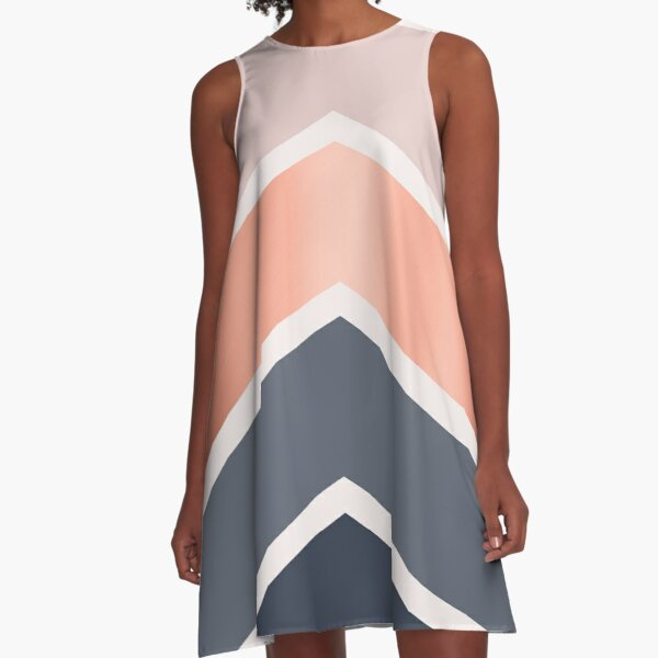 Chevrons in blush, navy and copper A-Line Dress