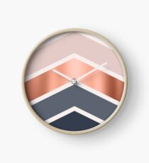 Chevrons in blush, navy and copper Clock