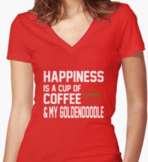 Happiness is Coffee & Goldendoodle Cute Women's Fitted V-Neck T-Shirt