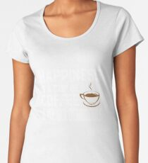 Happiness is Coffee & Goldendoodle Cute Women's Premium T-Shirt