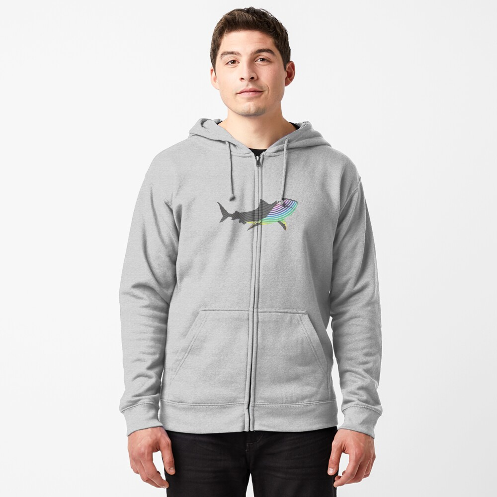 """""""color swirl shark"""" Zipped Hoodie by asyrum 