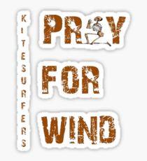 Kiteboarding Humor Kneeling Skeleton Praying For Wind  Sticker