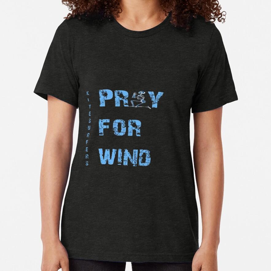 Kiteboarding Humor Kneeling Skeleton Praying For Wind Tri-blend T-Shirt