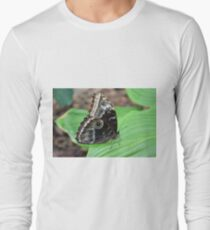 Beautiful brown butterfly on green leaves T-Shirt