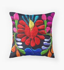 Fiesta Flowers Embroidery Throw Pillow