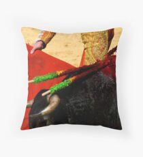 Matador and Bull Up Close. Throw Pillow