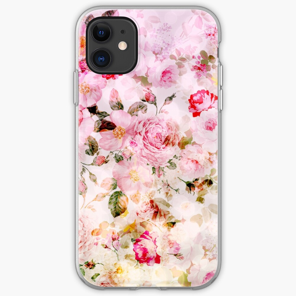 Vintage Pink Pastel Watercolor Floral Pattern Iphone Case Cover