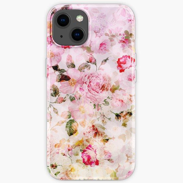 Vintage pink pastel watercolor floral pattern iPhone Soft Case