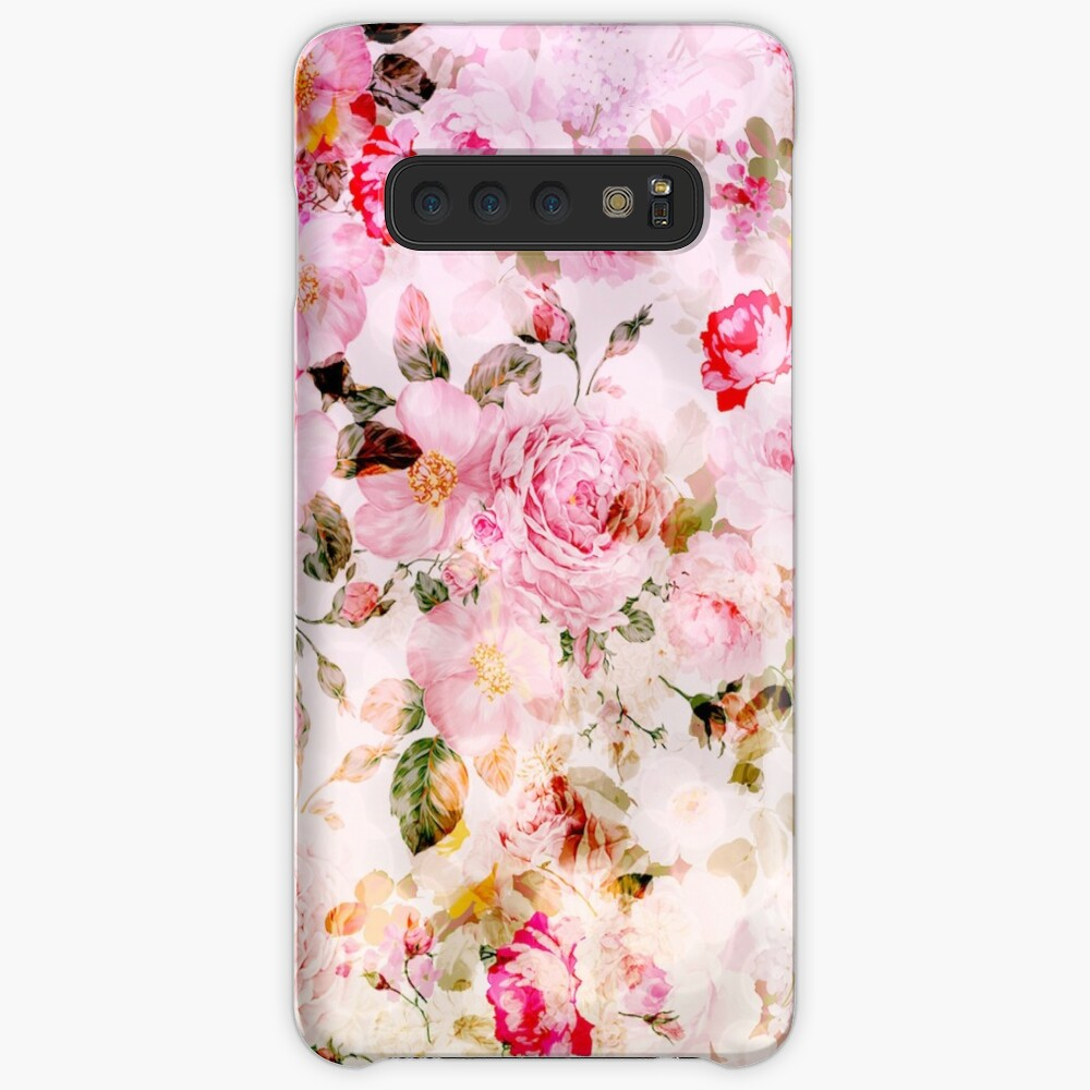 Vintage pink pastel watercolor floral pattern Cases & Skins for Samsung Galaxy