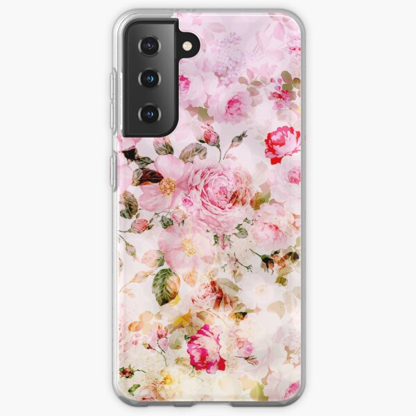Vintage pink pastel watercolor floral pattern Samsung Galaxy Soft Case