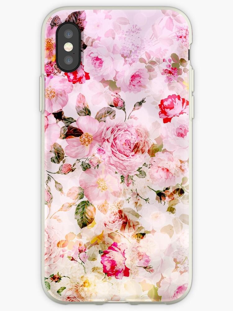 Rosa Blumenmuster des Pastell-Aquarells der Weinlese von Kicksdesign