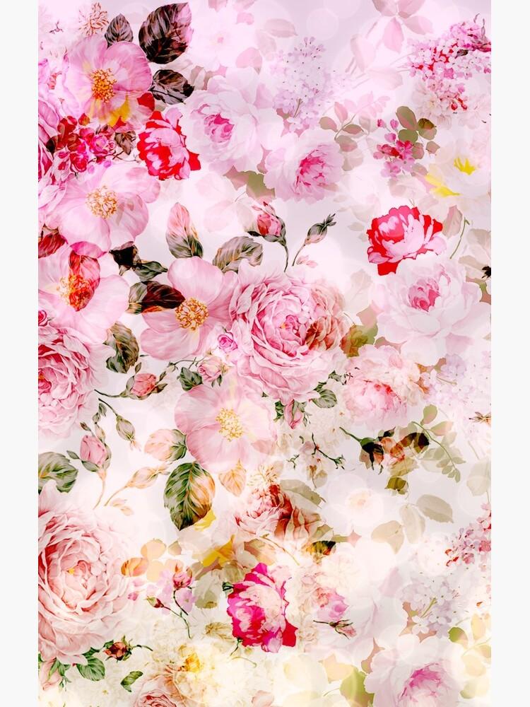 Vintage pink pastel watercolor floral pattern by Kicksdesign
