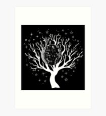 Nightscape Tree of Life - White Print Art Print