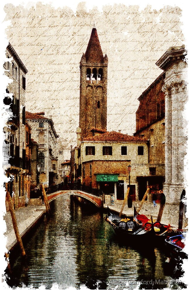 Forgotten Postcard - Venice , Italy 2 by Alison Cornford-Matheson