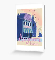 Avignon, Provence, France cafe vintage cartoon and fountain travel poster. Greeting Card