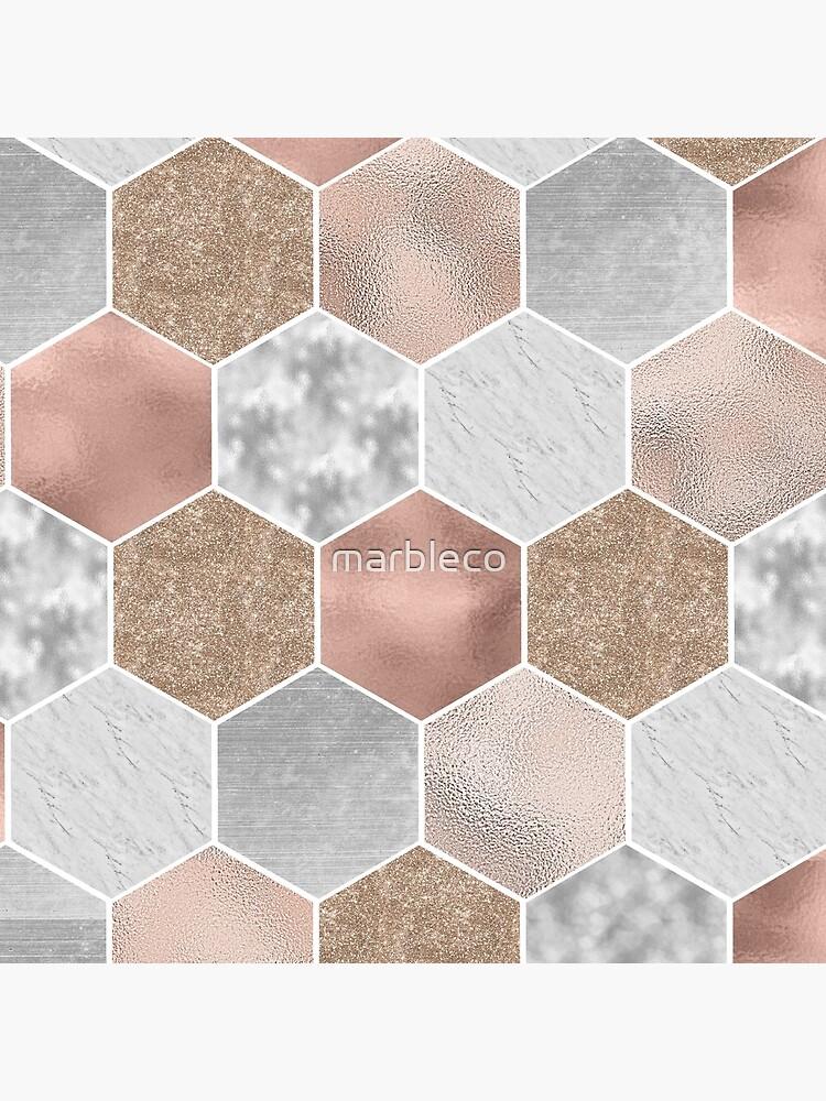 Suave oro rosa y hexágonos de mármol de marbleco