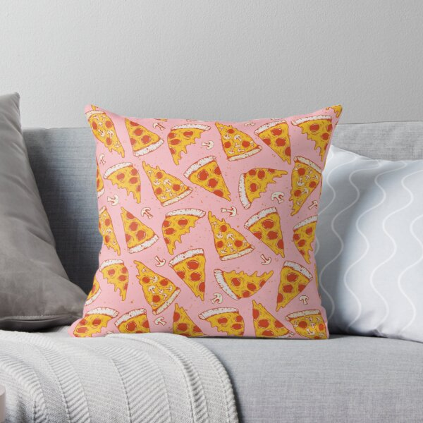 Pizza Night - Pink Throw Pillow