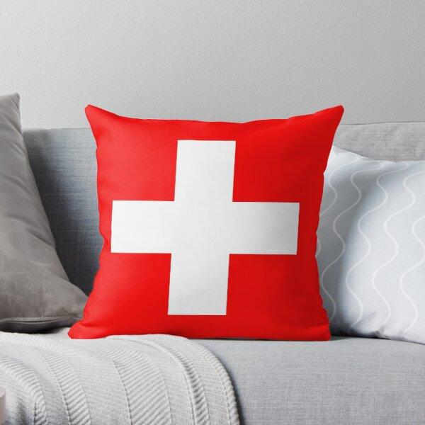 WHITE CROSS. On RED. Swiss. Switzerland. Swiss Flag, Flag of Switzerland, White Cross, Swiss Confederation. Throw Pillow