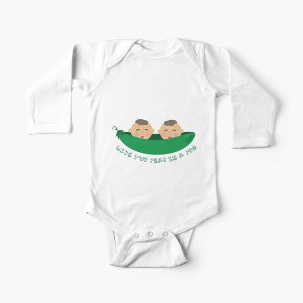 Peas in a Pod (boy/boy twins) Long Sleeve Baby One-Piece