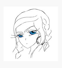 Anime girl with blue eyes and braids Photographic Print