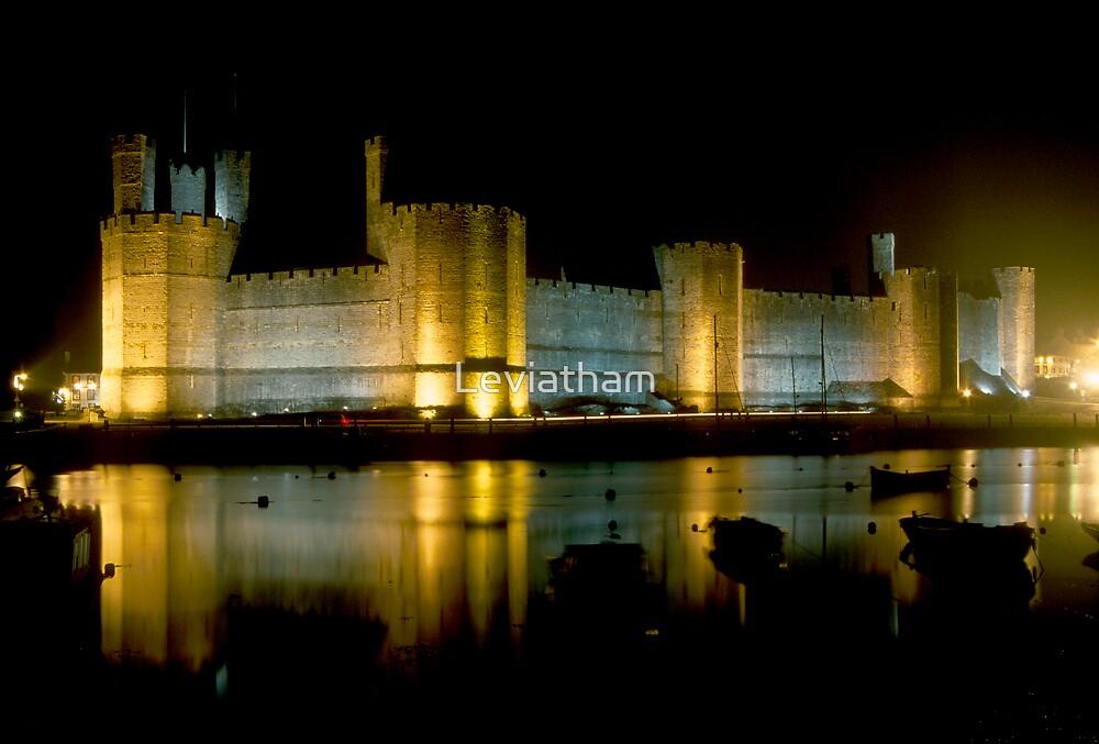 Caernafon Castle at night by Leviatham