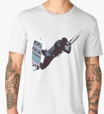Kite And Surfboard Freestyle Silhouette Vector Men's Premium T-Shirt
