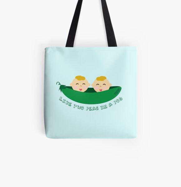 Peas in a Pod (boy/boy twins) All Over Print Tote Bag