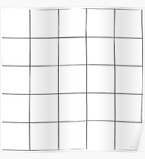 Black and white check, square, plaid pattern Poster