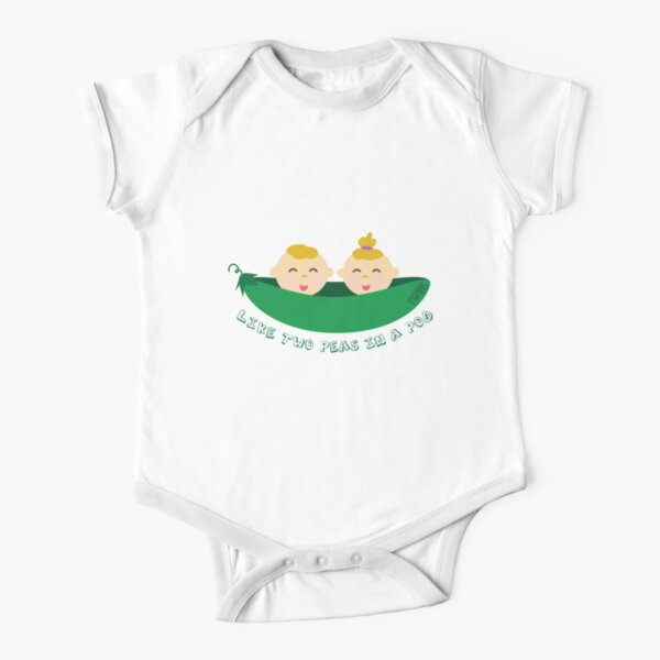 Peas in a Pod (boy/girl twins) Short Sleeve Baby One-Piece