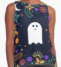 Spoopy Cute Ghost. Halloween Decor. Cute Ghost Dia De Los Muertos. Orange All Hallows Eve Floral Illustration. Contrast Tank