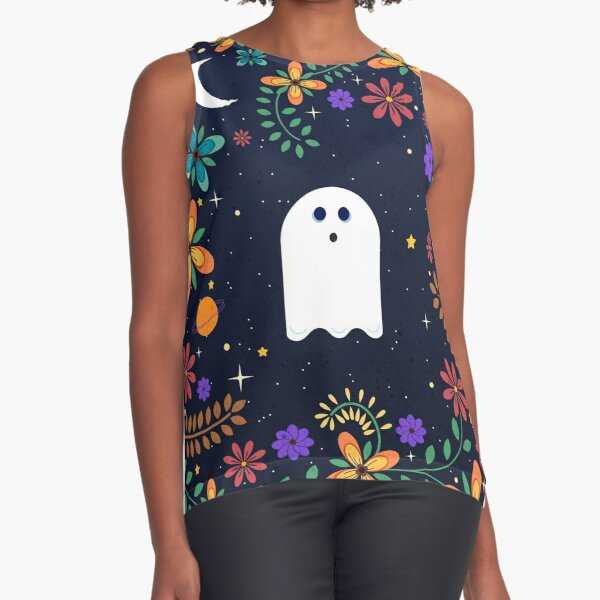 Spoopy Cute Ghost. Halloween Decor. Cute Ghost Dia De Los Muertos. Orange All Hallows Eve Floral Illustration. Sleeveless Top