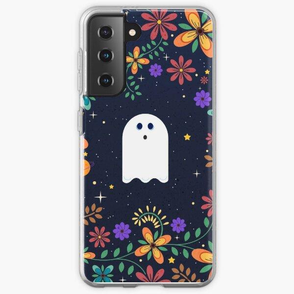 Spoopy Cute Ghost. Halloween Decor. Cute Ghost Dia De Los Muertos. Orange All Hallows Eve Floral Illustration. Samsung Galaxy Soft Case
