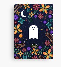 Spoopy Cute Ghost. Halloween Decor. Cute Ghost Dia De Los Muertos. Orange All Hallows Eve Floral Illustration. Canvas Print