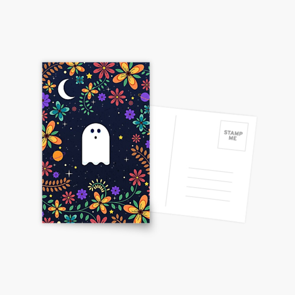 Spoopy Cute Ghost. Halloween Decor. Cute Ghost Dia De Los Muertos. Orange All Hallows Eve Floral Illustration. Postcard