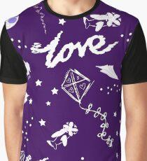 fun cute midnight purple galaxy sky pattern Graphic T-Shirt