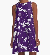 fun cute midnight purple galaxy sky pattern A-Line Dress