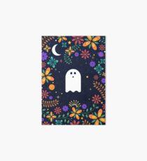 Spoopy Cute Ghost. Halloween Decor. Cute Ghost Dia De Los Muertos. Orange All Hallows Eve Floral Illustration. Art Board