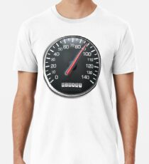RACE, RACING, MOTORSPORT, SPEEDO, Tachometer, Geschwindigkeitsmesser, Rennen, Rennwagen, WEISS Premium T-Shirt