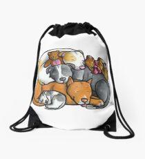 Pit bull terrier dogs - sleeping pile Drawstring Bag