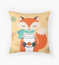 Autumn Fox With Coffee Throw Pillow