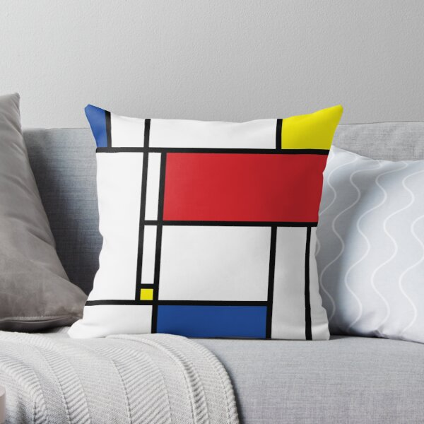 Mondrian Minimalist De Stijl Modern Art © fatfatin Throw Pillow
