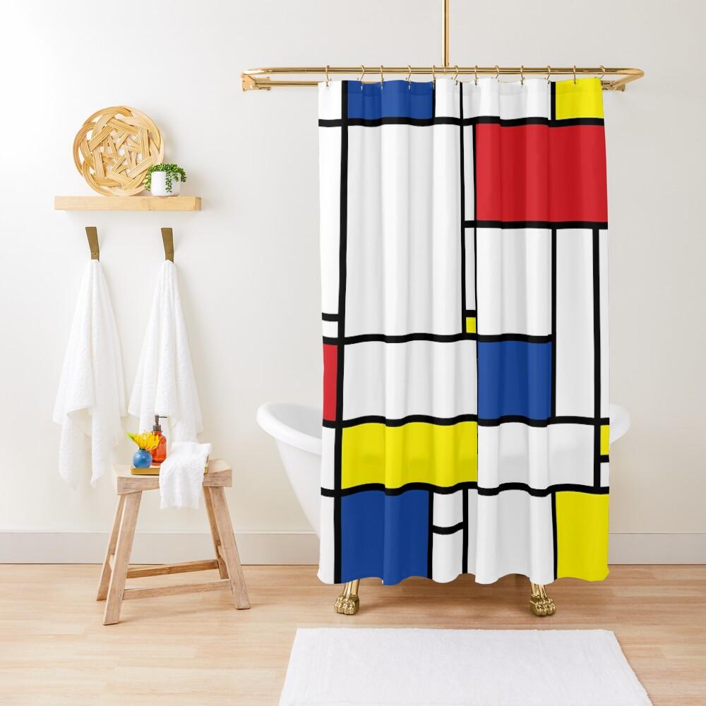 Mondrian Minimalist De Stijl Modern Art © fatfatin Shower Curtain