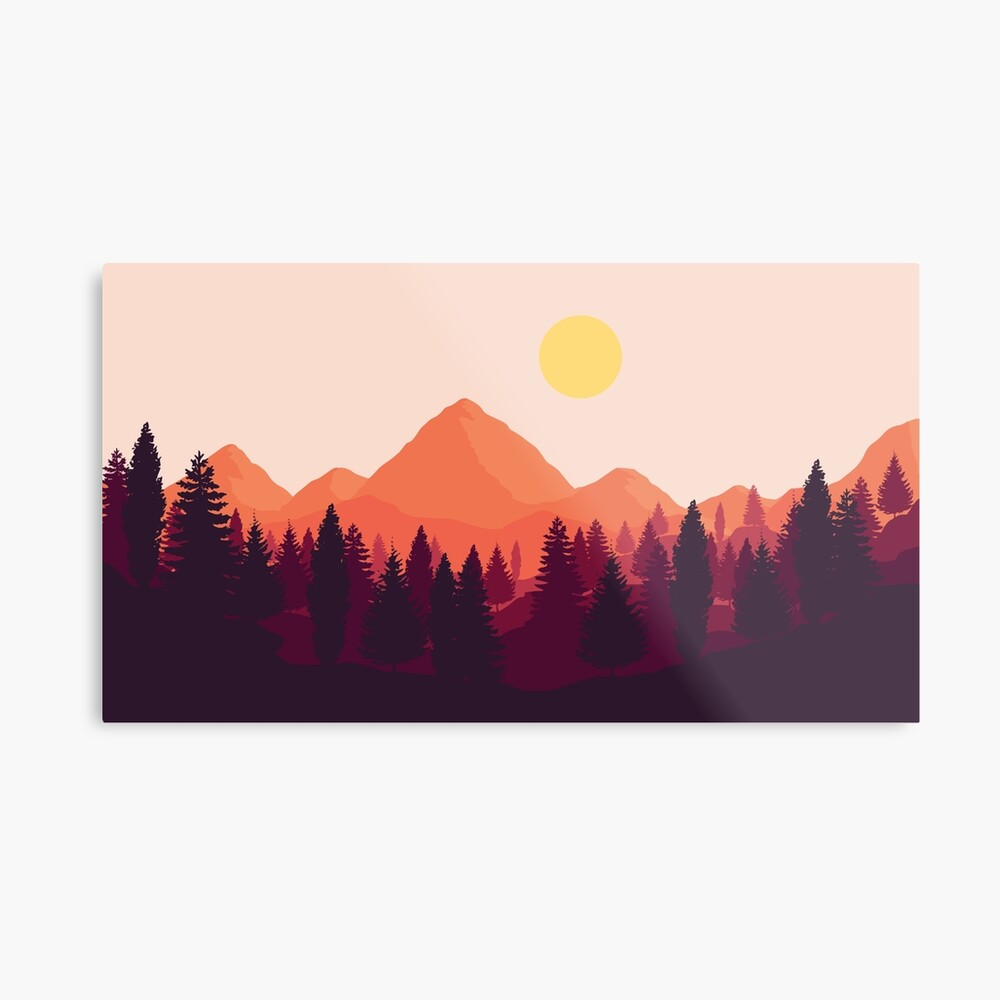 Forest Mountain Horizon Metal Print