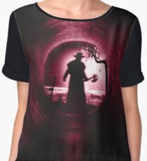 The silhouette of the boogeyman Women's Chiffon Top