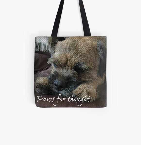 Border Terrier Gifts for Dog Lovers Paws for Thought All Over Print Tote Bag