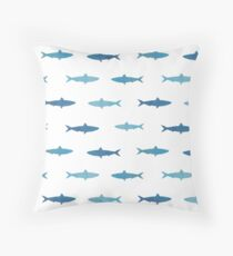 Blue Watercolor Fish Pattern Throw Pillow