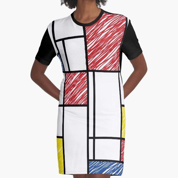 Mondrian Scribbles Minimalist De Stijl Modern Art © fatfatin Graphic T-Shirt Dress
