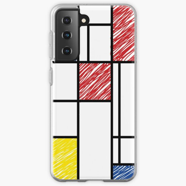 Mondrian Scribbles Minimalist De Stijl Modern Art © fatfatin Samsung Galaxy Soft Case